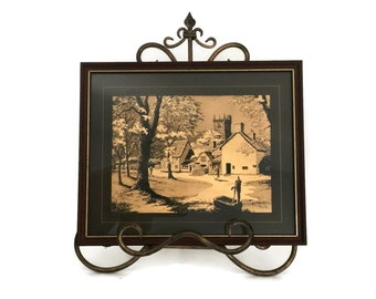 Gold Foil Print, Dufex Foil, Vintage Gold Foil Print, Housewarming Gift, Print of England, Office Decor, Metallic Image, Framed Vintage Art