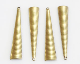 Long Triangle Pendants Made in USA, Brass Stamping, Raw Brass Findings (FDS-127)