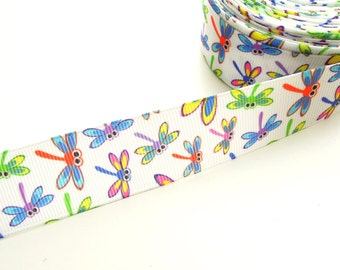 "Dragonfly grosgrain ribbon 26 mm 1"" wide - Colorful libelula ribbon for hair bows - Craft grosgrain dragonfly ribbon"