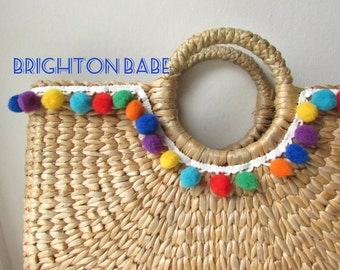 4 yds colorful Pom-Pom trim - Multi-color bobble trim - Pom pom trim Mexican Fiesta colors - Pom pom lace edging. UK Seller