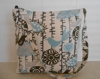 Blue birds bag or purse. Handmade by RiverPurseWorks
