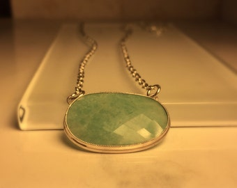 Handmade Gemstone  Necklace./Handmade Amazonite and Sterling Silver Necklace./Free Shipping in the US.