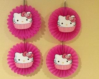4 pcs. Hello kitty mini hanging fans-party decorations/hello kitty decorations