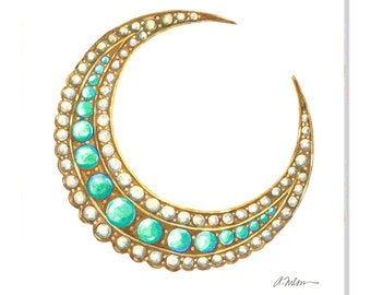 Victorian Turquoise and Pearl Crescent Moon Brooch Watercolor Rendering printed on Canvas