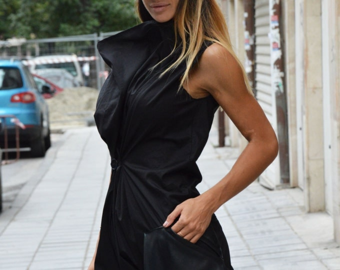 Black Maxi Jumpsuit With Leather Pocket, Loose Casual Drop Crotch, Cotton Union Suit, Long Zipper Jumpsuit by SSDfashion