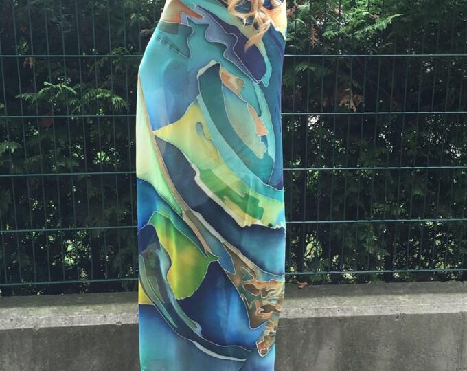 Women's Fashion Accessory, Hand Painted Maxi Scarf, Bohemian Painted Bird Shawl, Extravagant Scarf By SSDfashion