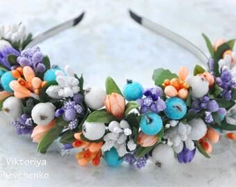 Bridal flower crown Floral crown Floral Headpiece Flower girl headband Wedding Crown Bridal Headpiece Wedding headband Hair accessory LV12