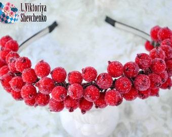 Christmas flower crown Red floral crown Christmas headband Winter wedding Bridal headpiece Flower hair wreath Wedding flower crown LV12