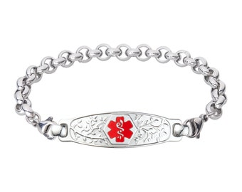 Lovely Filigree Olive Medical Alert ID Tag Elegant Rolo Bracelet-Red-Free Engraving, Wallet Card, Apps-5612RE