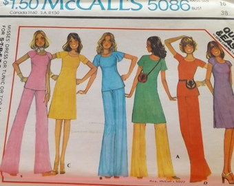 McCall's 5086 , Misses' dress, tunic or top and pants -- for stretchable knits Size 16