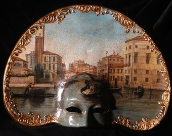 Masquerade Mask Hand Painted - Interior Design Venetian Mask  - Mask with paintings - M01