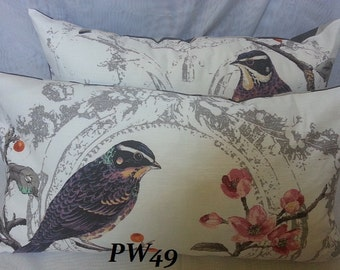Birdland Opal or Cream- Decorative Lumbar Pillow Cover with Linen Blend Fabric From UK / 14 x 26 Lumbar
