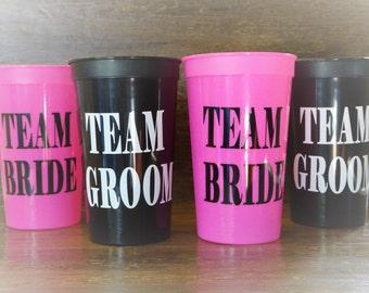 Team Bride & Team Groom 22 oz. Stadium Cups (set of 4)