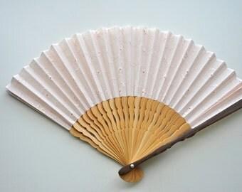Fabric Embroidery floral light pink Hand Fan-Handheld Folding Fan, Japanese Hand Fan,folding fan,white hand fan, wedding hand fan