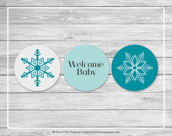 Winter Wonderland Baby Shower Cupcake Toppers - Printable Baby Shower Cupcake Toppers - Winter Wonderland Baby Shower - Toppers - SP114