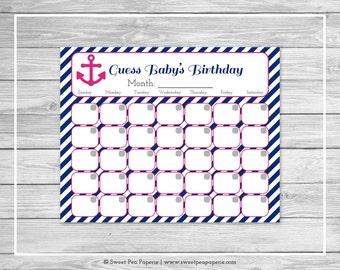 Nautical Baby Shower Guess Baby's Birthday - Printable Baby Shower Guess Baby's Birthday - Navy Pink Baby Shower - Birthday Calendar - SP119