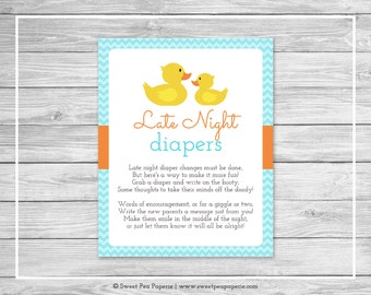 Rubber Ducky Baby Shower Late Night Diapers Sign - Printable Baby Shower Late Night Diapers - Rubber Duck Baby Shower - Diapers Sign - SP122