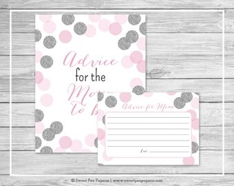Pink and Silver Baby Shower Advice for Mom Cards - Printable Baby Shower Advice for Mom Cards - Pink and Silver Glitter Baby Shower - SP123