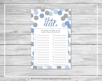 Blue and Silver Baby Shower Baby ABCs Game - Printable Baby Shower Baby ABCs Game - Blue and Silver Baby Shower - Baby ABCs Game - SP124