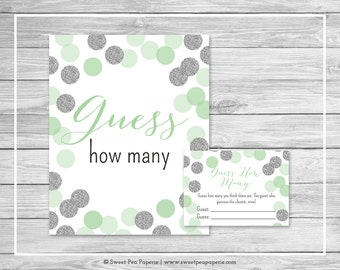 Mint and Silver Baby Shower Guess How Many Game - Printable Baby Shower Guess How Many Game - Mint and Silver Glitter Baby Shower - SP125
