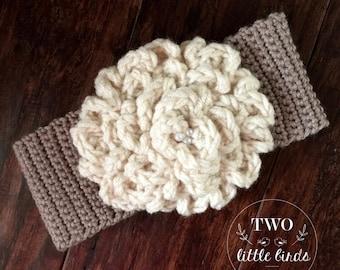 Easy crochet Pattern, crochet ear warmer pattern, gift for her, headband pattern, crochet ear warmer with flower, CAMDYN EAR WARMER