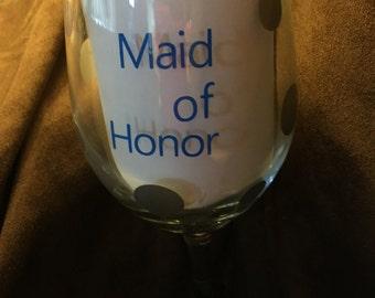 Maid of Honor wine glass