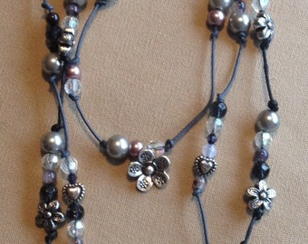 Leather and Cord Beaded Necklace