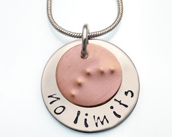 Retinal Blindness Awareness Necklace | I Can Braille Necklace | No Limits | Hand Stamped Necklace | Fundraiser Jewelry | Awareness Jewelry