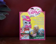 Instant egg art, instant egg wraps, egg decor kit, cartoon bunny egg decor, egg wrappers, vintage egg decor