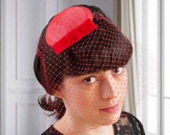Valentine's Day Fascinator Red Veil Hat