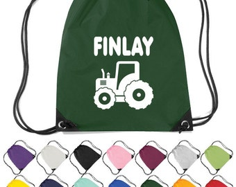 Personalised Tractor Themed Drawstring Bag. Nursery, School, Craft Bag  * Free Delivery *