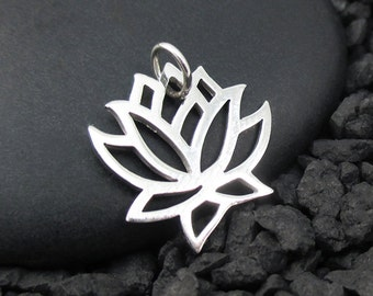 Lotus Charm Sterling Silver or Solid 14K Gold Lotus Flower Charm, Yoga Charms
