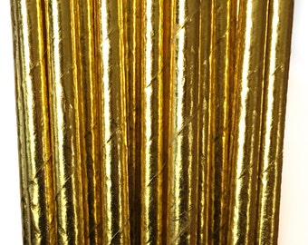 High Class Paper Straws For Parties, Weddings, Baby Showers & More: Gold Metallic Straws – Disposable and  Eco- Friendly, 100% Biodegradable