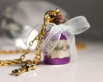 Drink Me - Alice In Wonderland. Bottle Necklace. Bottle charm. Glass vial. vial charm. drink me charm. blue. cute. gold key. pendant. purple