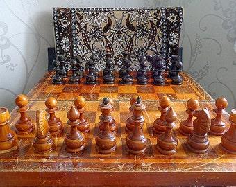 Antique large soviet chess set, vintage USSR big wooden retro russian chess