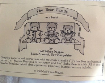 Sewing Kit.  The BEAR FAMILY on a bench.  Instructions & Supplies for 3 tiny bears.