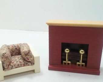 Fisher Price Vintage Dollhouse Accessory:  Chair & Fireplace 1978-1982 Complete!