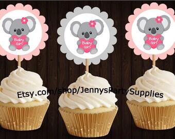 Set of 12 Pink Koala Cupcake Toppers, Pink Koala Toppers, Koala Baby Shower, Koala Party, Koala Birthday