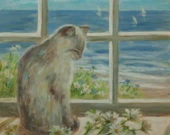 "beach print, 'Kitty Sunbath' 11"" x 14"" print from original painting by Tina O'Brien, coastal, shabby chic, cat,"