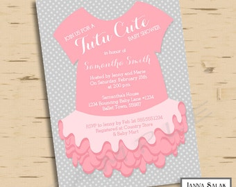 Tutu Cute Baby Shower Invitation Pink and Grey Printable