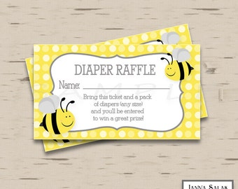 Mommy to Bee Diaper Raffle Tickets DIY Printable INSTANT DOWNLOAD BEE001