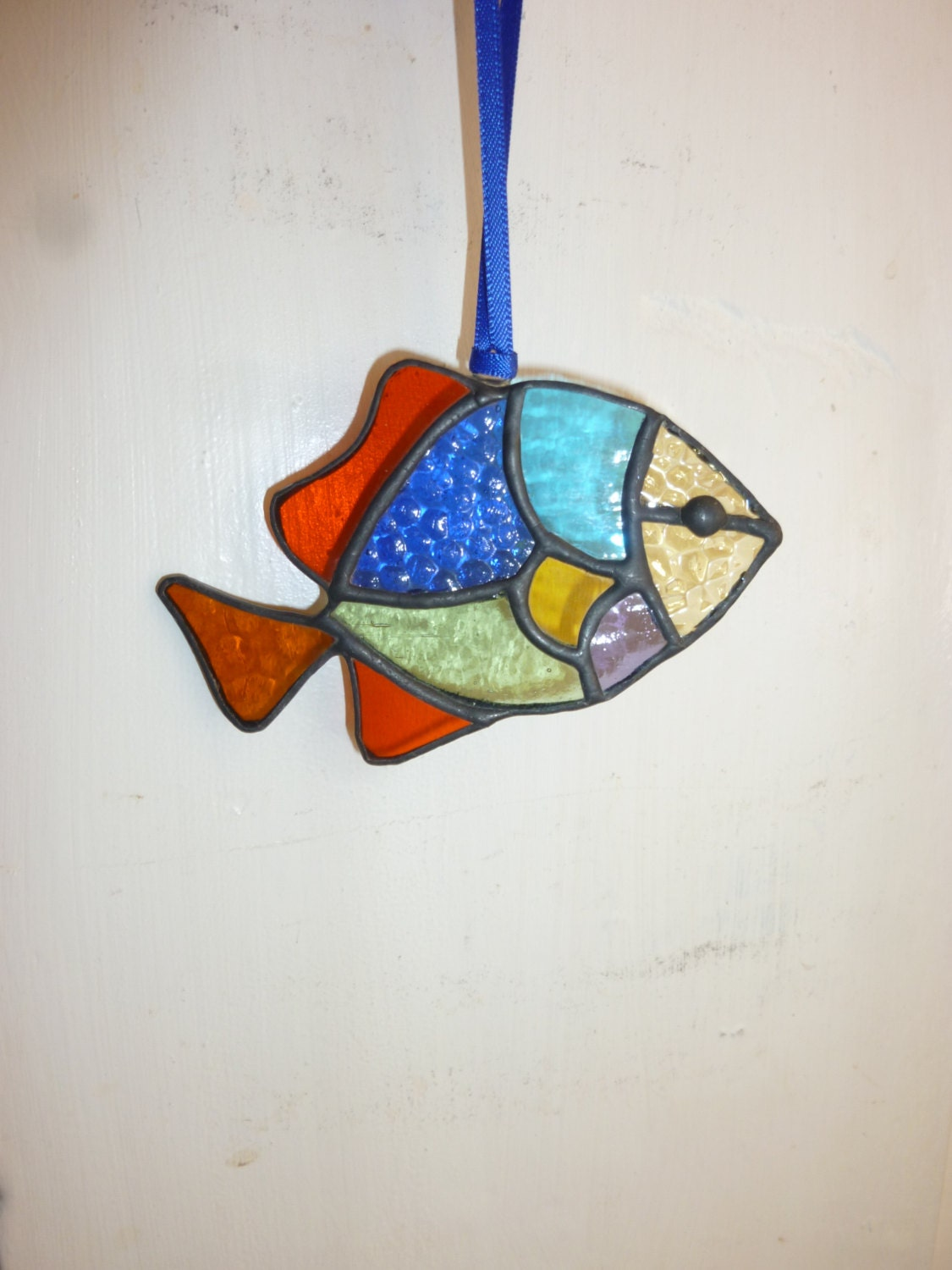 Stained glass fish suncatcher by HiromisGlass on Etsy - photo#11