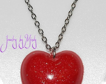 Pigmented Glitter Resin Heart Necklace