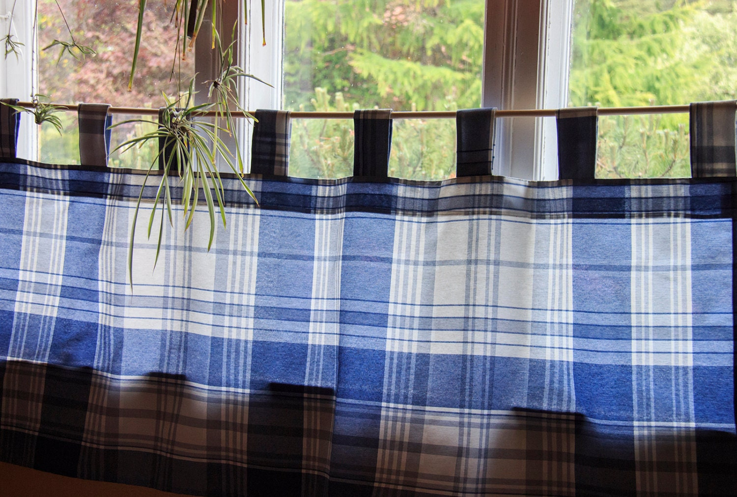 Blue Plaid Window Valance Cafe Curtain Natural Kitchen