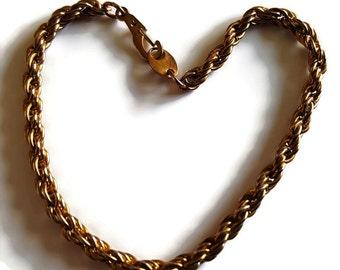 Vintage copper bronze toned rope linked bracelet