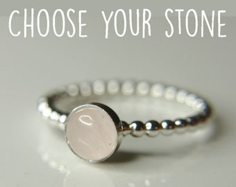 Rose quartz dotted stacking ring, Dainty thin band with lovely gemstone - beading wire ring available with many stones