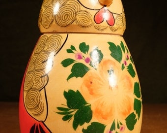 Chicken Hen with 10 Chicks Made In the USSR Hand Carved and Painted