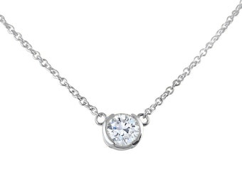 14k White Gold Moissanite necklace moissanite solitaire necklace - Charles and Colvard Forever One- Solitaire Pendant -15 in - 16 in - 18 in