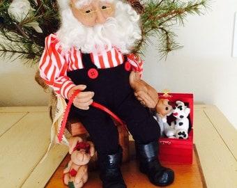 Vintage Santa Display, Santa's Toy Workshop, Polymer Clay Santa Claus Doll