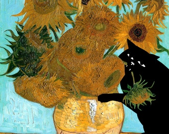 cat cards van gogh sunflowers card blank cat card flowers van gogh